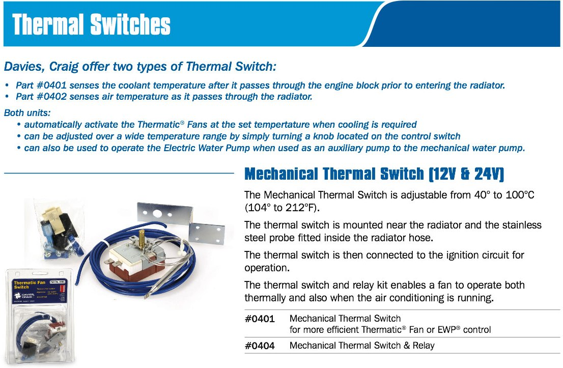MECHANICAL THERMAL SWITCH WITH RELAY V PART No  Davies - Electric fan relay kit